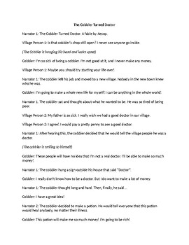 The Cobbler Turned Doctor (Aesop's Fable) Readers' Theater Script