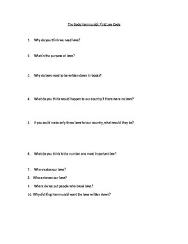 The Code of Hammurabi questions