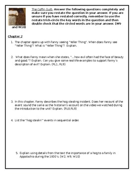 The Coffin Quilt  CCSS Comprehension Questions for Chapter 2 and 3