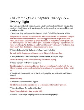 The Coffin Quilt Ch. 26-28 Questions (Answer Key Included)