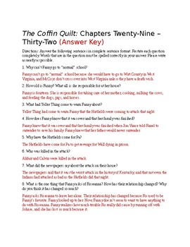 The Coffin Quilt Ch. 29-32 Questions (Answer Key Included)