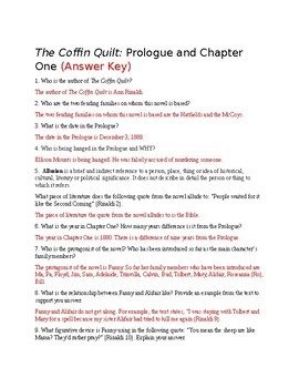 the coffin quilt chapter 1 and prologue questions answer key included rh teacherspayteachers com Quilting Fabric Coffin Quilt Full View