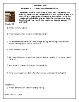 The Coffin Quilt-Chapter 31 and 32  Comprehension Questions with Answer Key