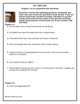 The Coffin Quilt-Chapter 33 and 34  Comprehension Questions with Answer Key