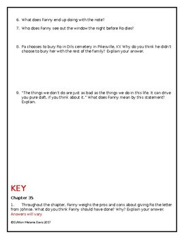 The Coffin Quilt-Chapter 35 and Epilogue Comprehension Questions with Answer Key