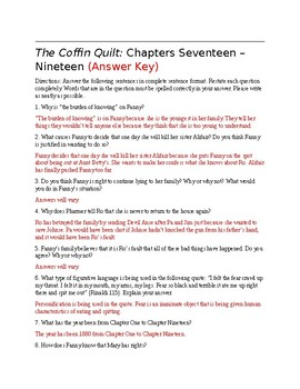 The Coffin Quilt Chapters 17-19 Questions (Answer Key Included)