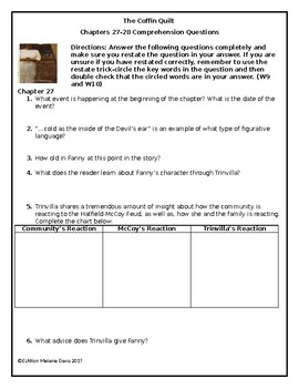 The Coffin Quilt Comprehension Questions Chapter 27-28