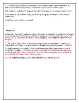 The Coffin Quilt by Ann Rinaldi CCSS Comprehension Questions for Chapters 17-18