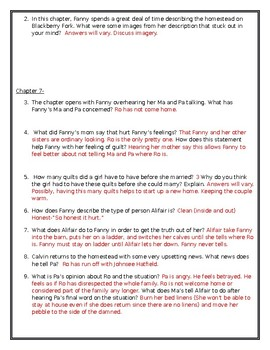The Coffin Quilt by Ann Rinaldi Comprehension Questions for Chapters 6-7 UPDATED