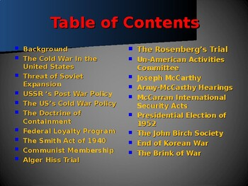 Global Policy & International Conflicts - The Cold War in the United States