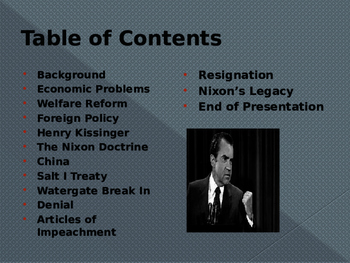 US Presidents  - The Nixon Administration & Watergate
