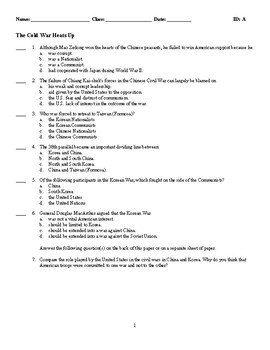 The Cold War Heats Up - (Quiz or Study Guide)