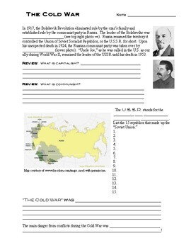 The Cold War In a Nutshell with Answer Key
