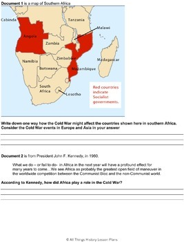 Document Based Questions: The Cold War Influences in Africa 1960s-1990s