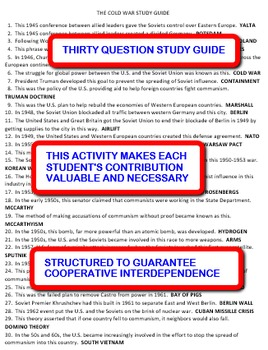 The Cold War: Interdependent Answer Sheets Activity