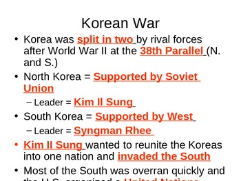 The Cold War - Korean and Vietnam Wars Guided Notes
