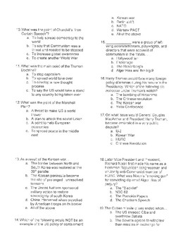 The Cold War Multiple Choice Test