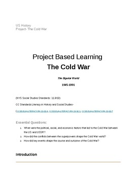 The Cold War- US History Project Based Learning (HS) Google Docs Link Included