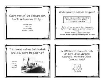The Cold War Task Cards - World History II
