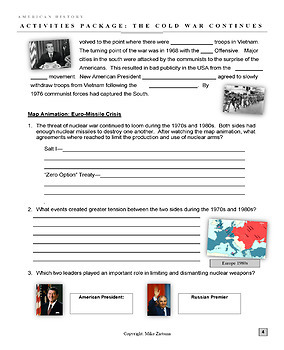 The Cold War and America - 1960 to 1989 - 8 Pages of Diverse Learning Activities