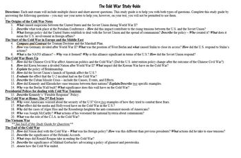 The Cold War and Vietnam War Study Guides