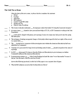 The Cold War at Home - (Quiz or Study Guide)