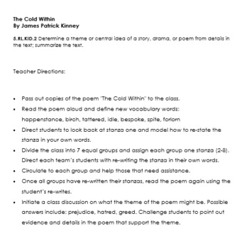 The Cold Within - A Poetry Lesson Activity for Determining Theme