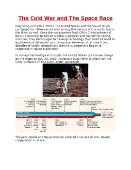 The Cold war and The Space Race Worksheet
