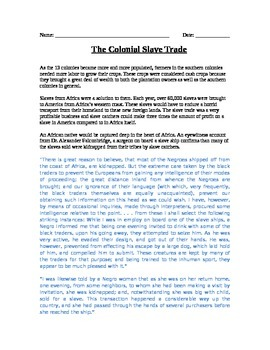 Colonization: Colonial Slave Trade reading, primary resources, and questions
