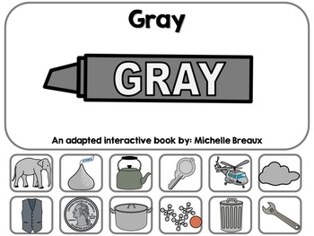 The Color Gray- Adapted Interactive Book {Autism, Early Childhood, Special Ed}