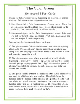 The Color Green in Nature-Montessori 3 Part Cards
