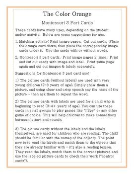 The Color Orange in Nature-Montessori 3 Part Cards
