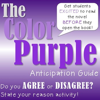 The Color Purple Anticipation Guide Activity By All Day Ela Tpt