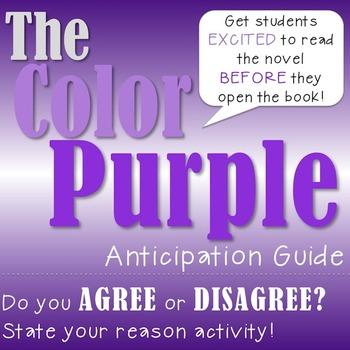 The Color Purple Anticipation Guide Activity!