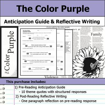 The Color Purple - Anticipation Guide & Reflection