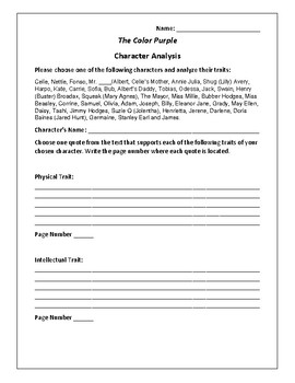 The Color Purple Character Analysis Activity - Alice Walker