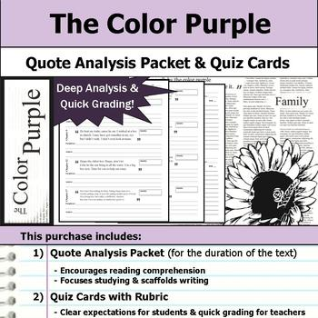 The Color Purple - Quote Analysis & Reading Quizzes