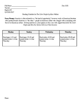 The Color Purple Reading Schedule Week 1