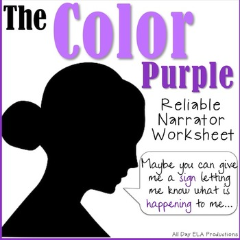 0847cca98c56 The Color Purple Reliable Narrator Worksheet! by All Day ELA