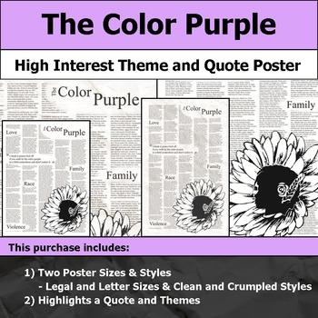 The Color Purple - Visual Theme and Quote Poster for Bulletin Boards