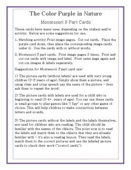 The Color Purple in Nature-Montessori 3 Part Cards