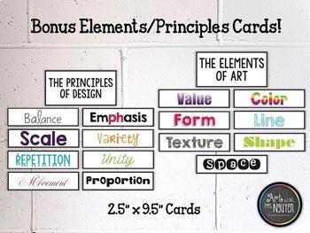 Basic Set of Visual Arts Posters: Color Wheel, Elements, Principles
