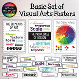 Basic Set of Visual Arts Posters: Color Wheel, Elements, Principles