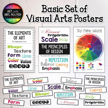 Basic Set of Visual Arts Posters: Color Wheel, Elements, P