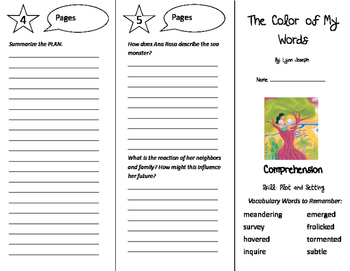 The Color of My Words Trifold - Storytown 6th Grade Unit 1 Week 2