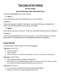 The Color of My Words by Lynn Joseph Performance Task