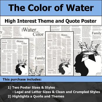 The Color of Water - Visual Theme and Quote Poster for Bulletin Boards