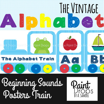 The Colorful Alphabet Train Beginning Sounds Poster Pack - Vintage Edition