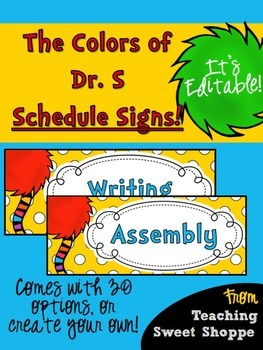 The Colors of Dr. S!  Daily Schedule Signs