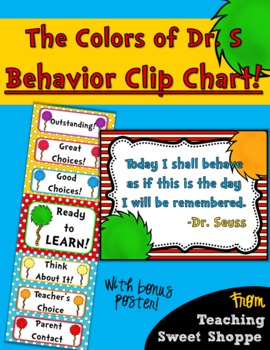 The Colors of Dr. S!  FREE Behavior Clip Chart!